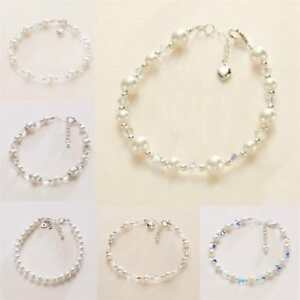 Bracelets for Brides and Bridesmaids. Pearls and Crystals, Silver, White, Ivory