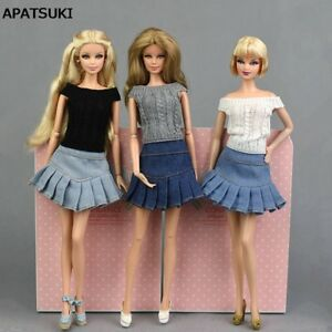 """Blue Jeans Casual Wear Fashion Doll Clothes For 11.5"""" Doll Kids Toy A-line Skirt"""