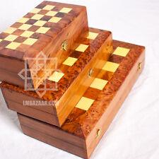 SMALL Handmade Thuya Burl Wooden Chess and Back /Thuja Wood Chess from Morocoo