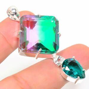 "Bi Color Tourmaline, Peridot Ethnic 925 Sterling Silver Jewelry Pendant 2.17"""