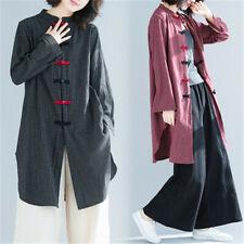 Women Chinese Tang Suit Shirt Cotton Linen Coat Martial Arts Tai Chi Uniform Top