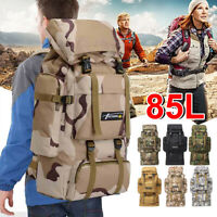 85L Outdoor Backpack Travel Tactical Military Hiking Bag Rucksacks Camping Patch