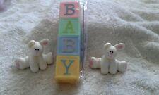 CAKE TOPPERS---2xCLAYDOUGH WHITE RABBITS-4xPLASTIC BABY BRICKS/BRAND NEW CULPITT