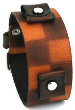 Nemesis BCB Checker Brown Wide Leather Cuff Wrist Watch Band