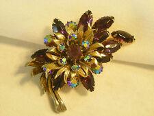 """ Selini "" signed Vintage Brooch / Pin Set Purple Glass Rhinestones Gold-tone"