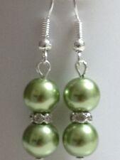 Beautiful 8mm green glass pearl dangle earrings crystal rhinestones.
