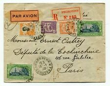 Indochina / Cambodia 1930 Registered Airmail Cover to Paris, France -