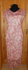 dusky pink oatmeal beige brown floral chiffon maxi summer wedding dress 14-16 42
