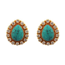 Turquoise & Quartz 925 Sterling Silver Gold Plated Stud Earrings For GIFT