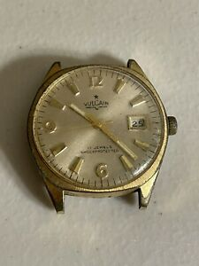 Vulcain 17 Jewels Shock Protected Watch No Band Not Running AS IS FOR PARTS!