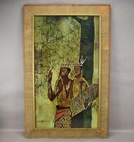 Batik Art Print DAYAK MUSICIAN Southeast Asia Indonesian Large Framed