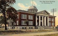 St Petersburg Florida~New High School Building~Dirt Road~1910 Postcard