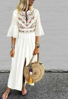 Casual Half Sleeve Dress Ruffles Design Bohemian Style V-neck Fit With High Slit