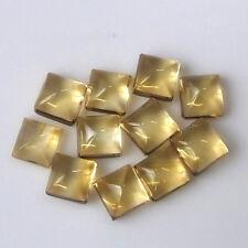 4X4 MM Square Brazilian Yellow Citrine Cabochon Gemstone 11 Pieces lot