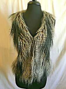 Esley Hook Front Faux Fur Vest Size Small Brown Gray Striped Lined