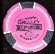 Neon Pink Harley Davidson Poker Chip Greeley Colorado