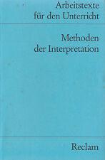 Reclam- ARBEITSTEXTE FÜR DEN UNTERRICHT : METHODEN DER INTERPRETATION  9586