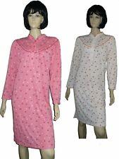 frauliches Damen Nachthemd langer Arm Stehbündchen Gr. M - XXXL Schlafshirt