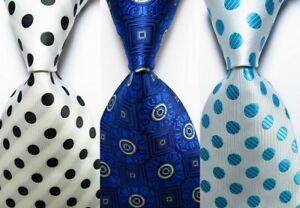 3 pcs New Classic Dot JACQUARD WOVEN 100% Silk Men's Tie Necktie