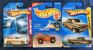 S19-Hot Wheels blue card #488 Sting Rod, Custom '62 Chevy & Surf's up Switchback