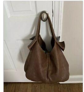 Brunello cucinelli large boho bag handbag tote leather  brown