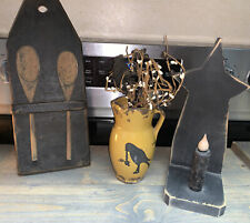 Primitive Decor. Spoon Holder, Crow Vase, & Candle Holder W/candle
