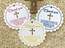 10 White Gift Tags Religious Cross Christening Baptism Bomboniere Personalised