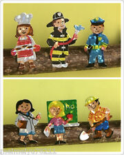 3x Squares Sandylion Shinny People Stickers Police Firefighter Teacher Doctor