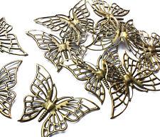 10 X Tono De Bronce Adorno mariposa filigrana Estampada encanto Decoración Craft