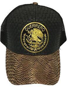 GUERRERO  MEXICO HAT BLACK BROWN GORRA DE PALMA LOGO FEDERAL 2 LOGOS SNAP BACK