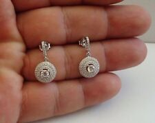 925 STERLING SILVER MICRO PAVE ROUND DANGLING STUD EARRINGS W/ 2.50 CT ACCENTS