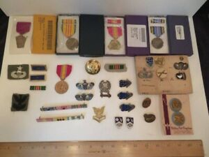 Lot of US Military Patches Pins Ribbons & Badges