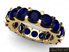 4.75Ct Round Cut Sapphire Shared U-Prong Eternity Band Ring 18k Yellow Gold AAAA