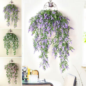 2 Pack Fake Wisteria Lavender Vine Garland Plants Artificial Flower Hanging Ivy