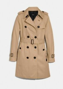 Coach mid length belted tan trench coat Size Small NWT