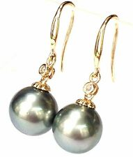 Genuine Diamonds 14K Yellow Gold Tahitian South Sea Round Pearl Dangle Earrings