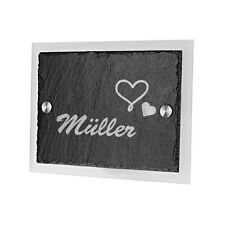 Schiefertafel Türschild mit Acrylglas inkl. Gravur Motiv Herzen mit Namen