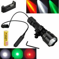 5000Lm Red Green White T6/Q5 Hunting LED Flashlight Torch Switch Gun Mount 18650
