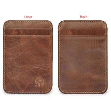Men Slim Minimalist Front Pocket Wallet Genuine Leather Credit Card ID Holder PR