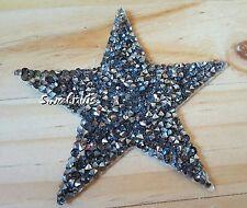 Gunmetal Hotfix STAR Rhinestone Diamante Iron On Transfer Patch Applique - 8cm