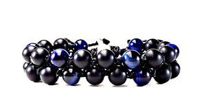 MEN'S BLUE TIGER EYE BLACK MATTE ONYX DOUBLE LAYER BEADED SHAMBHALA BRACELET