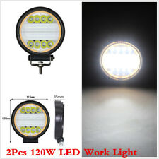 120W Yellow White LED Work Light Flood Beam Offroad Round Truck 4X4 Driving Lamp