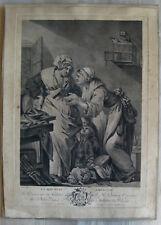 gravure XVIIIème d'après J.B. Greuze etching engraving stampa