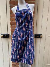 More details for vintage navy blue pink floral bouquet  tie waist full apron