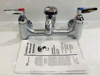 "T&S Brass B-0674-BSTR Service Sink Faucet, Wall Mount, 8"" Centers, Rough Chrome"