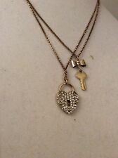 Betsey Johnson Gold-Tone Glass Heart Lock And Key 2-Row Necklace(2) W-11