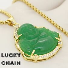 Jade chains necklaces pendants for men ebay 14k gold finish iced out jade buddha pendant 24round box chain 22g e71 aloadofball Choice Image