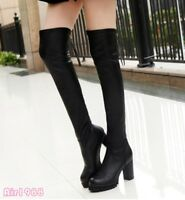 Womens Over the Knee Boots High Chunky Heel Stretchy Slim Casual Shoes Boots new