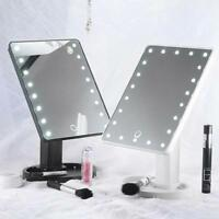3 Colors 22 LED Touch Screen Makeup Mirror Tabletop Lighted Cosmetic Vanity 360°