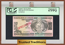 TT PK 6s 1993 VANUATU RESERVE BANK 1000 VATU PCGS 67 PPQ SUPERB GEM SCARCE!